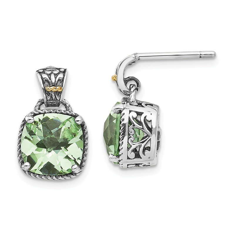 Shey Couture Sterling Silver w/14k Green Quartz Earrings