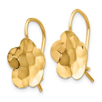 14k Concave Hammered Flower Disc Earrings
