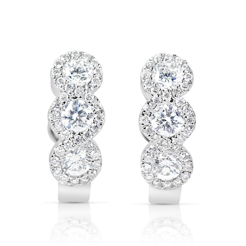 S. Kashi  & Sons White Gold Diamond Huggie Earring