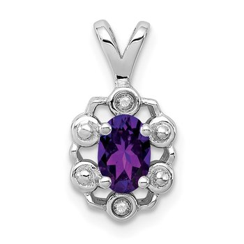 Sterling Silver Rhodium-plated Amethyst & Diam. Pendant