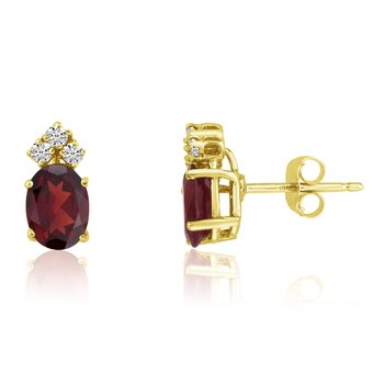 14k Yellow Gold Oval Garnet Earrings with Diamonds