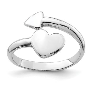 Sterling Silver Rhodium-plated Heart w/Arrow Toe Ring
