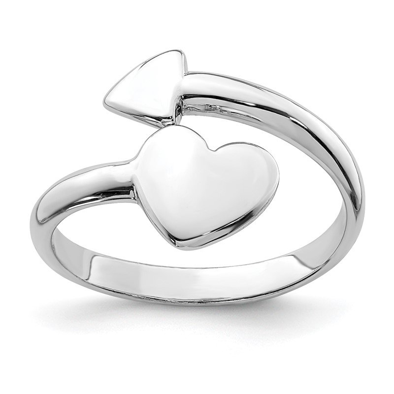 Quality Gold Sterling Silver Rhodium-plated Heart w/Arrow Toe Ring
