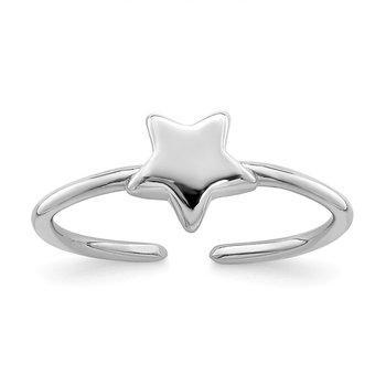 Sterling Silver Rhodium-plated Polished Star Toe Ring
