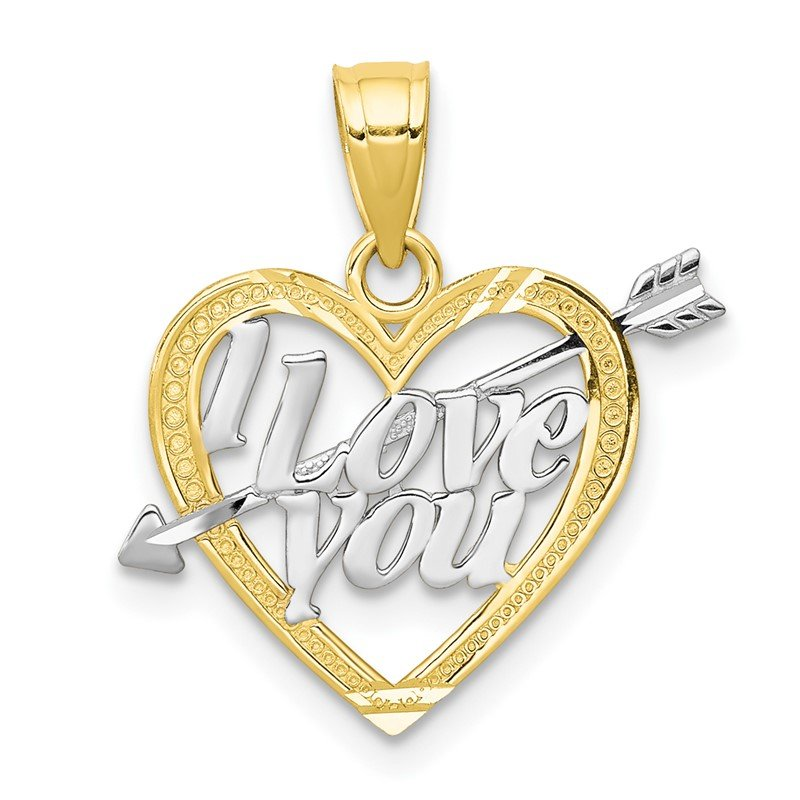 Quality Gold 10K w/ Rhodium I LOVE YOU Heart Charm