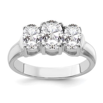 Sterling Silver Rhodium-plated 3 Stone CZ Ring