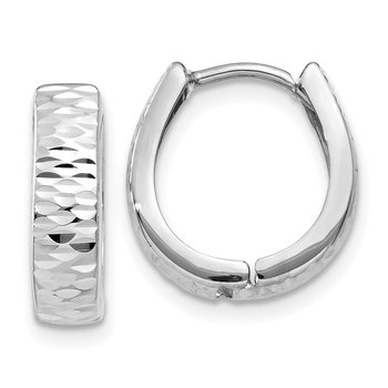 14K White Gold Textured and Polished Hinged Hoop Earrings
