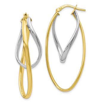 Leslie's 10K Two-Tone Polished Hoop Earrings