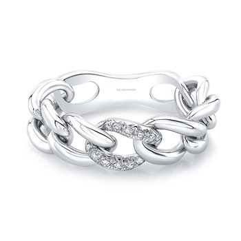 White Gold Single Station Pave Link Ring