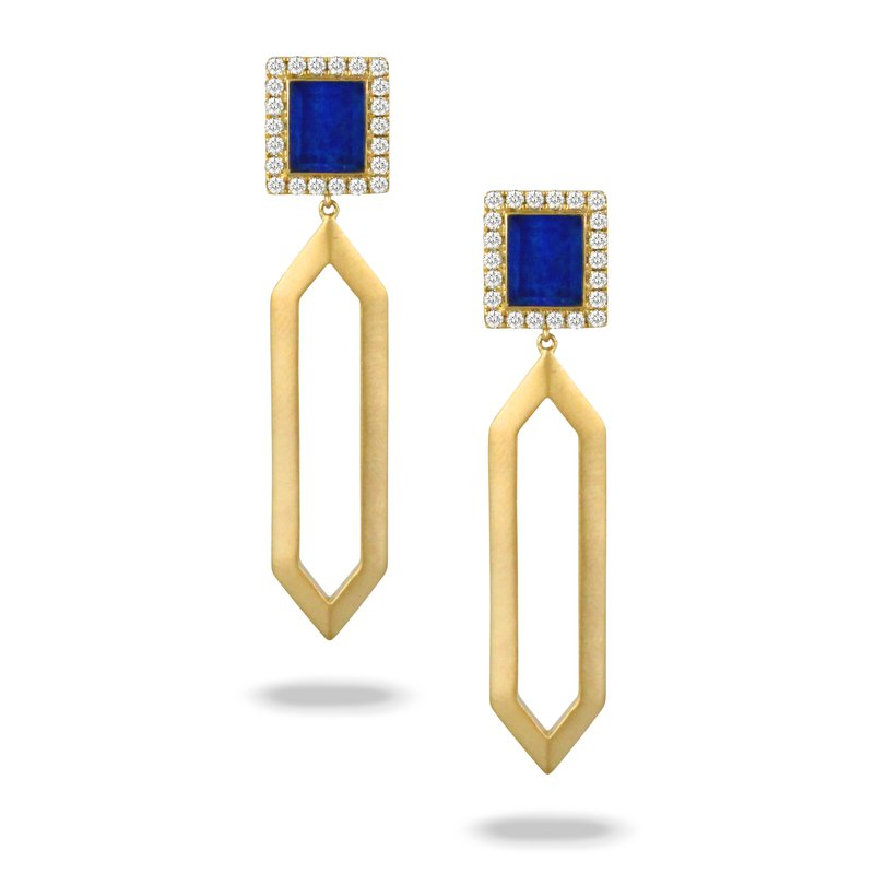 MAZZARESE Couture Royal Lapis Sqare Top Dangle Earrings 18KY