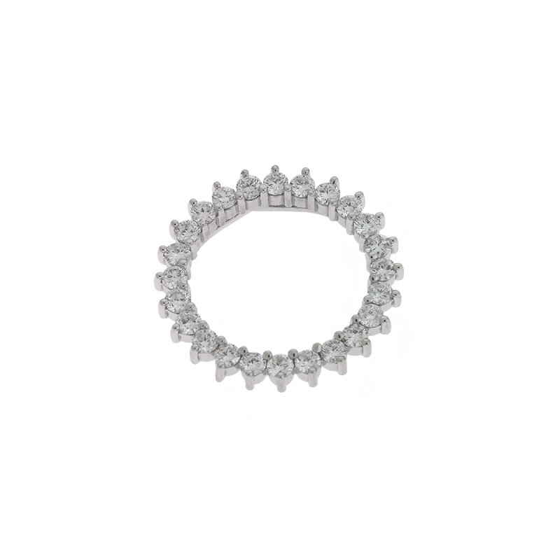 S. Kashi  & Sons White Gold Three Prong Circle