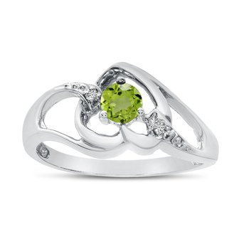 14k White Gold Round Peridot And Diamond Heart Ring