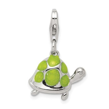 Sterling Silver Rhodium-plated and Green Enameled Turtle Charm