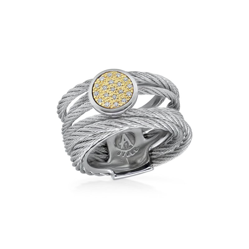 ALOR Grey Cable Intermix Ring with 18kt Yellow Gold & Round Diamond Station