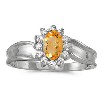 14k White Gold Oval Citrine And Diamond Ring