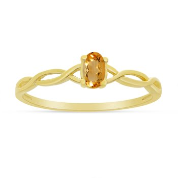 14k Yellow Gold Oval Citrine Ring