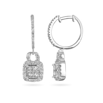 10K WG Diamond Hoop Earring