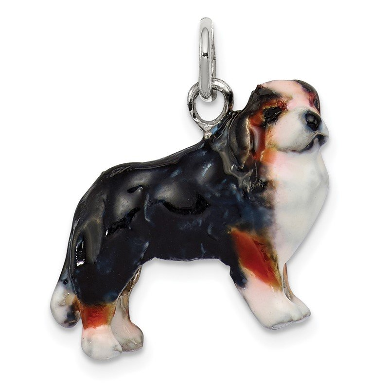 Quality Gold Sterling Silver Enameled Bernese Mountain Dog Charm