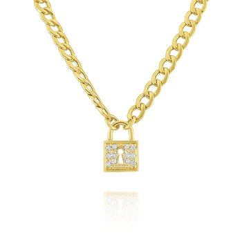 14k Gold and Diamond Padlock Necklace