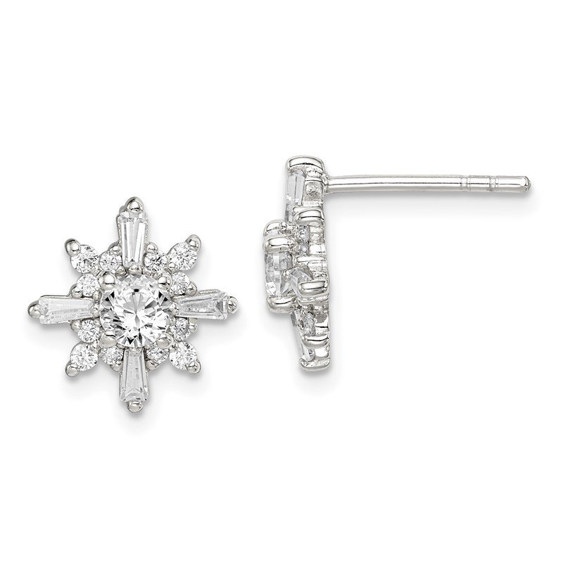 Quality Gold Sterling Silver CZ Snowflake Post Earrings