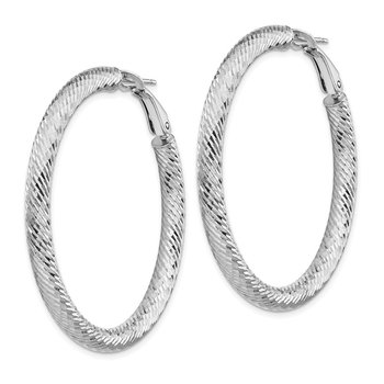 14k 4x35mm White Gold Diamond-cut Round Omega Back Hoop Earrings