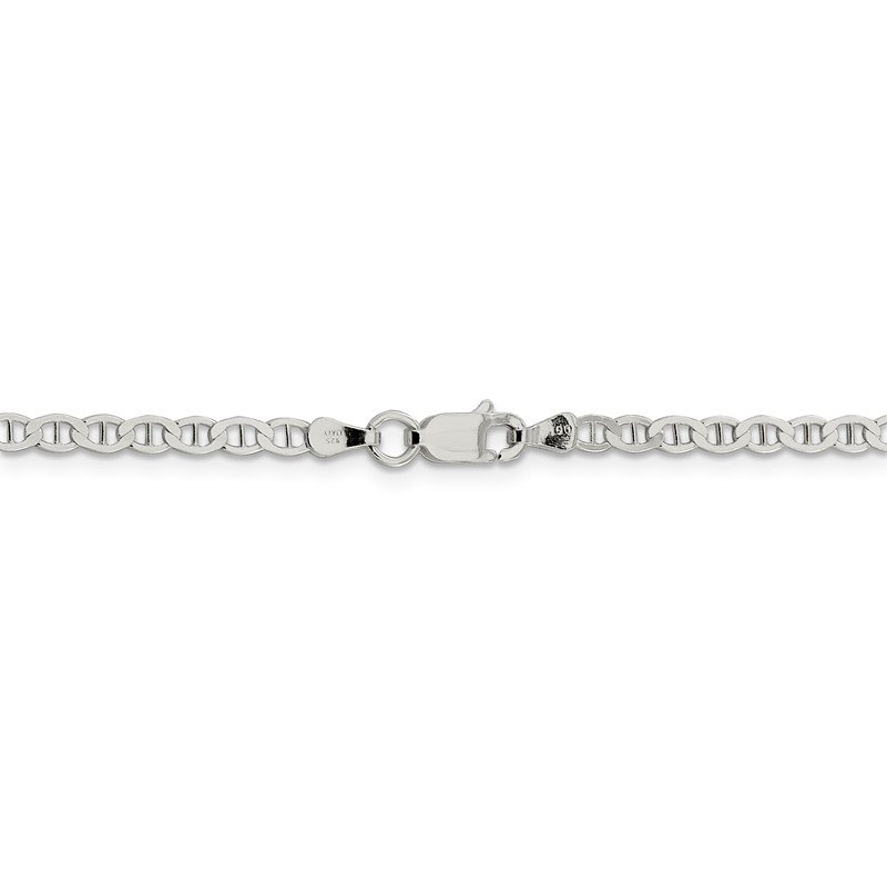 Sterling Silver 3.1mm Flat Anchor Chain Anklet