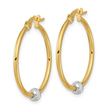 14k Two-tone Polished & Diamond Cut Hoop Earrings