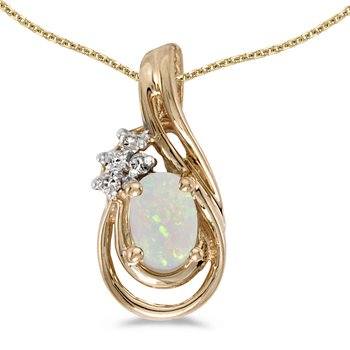 14k Yellow Gold Oval Opal And Diamond Teardrop Pendant