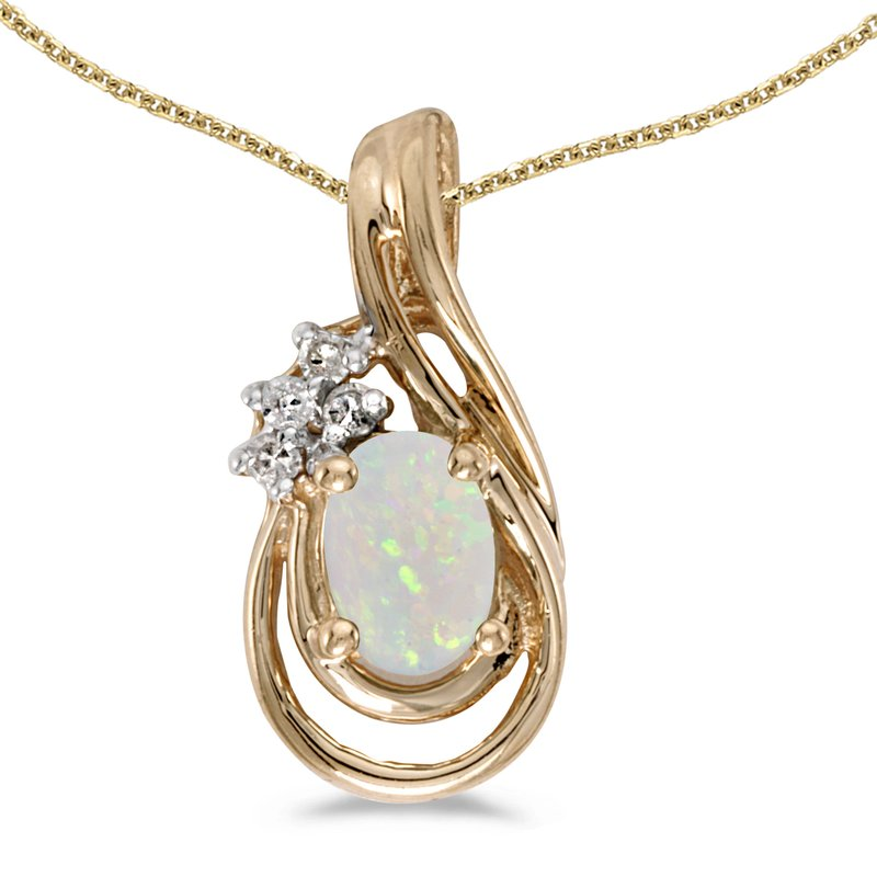 Color Merchants 14k Yellow Gold Oval Opal And Diamond Teardrop Pendant