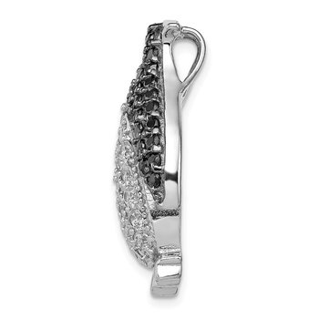 Sterling Silver Black & White CZ Penguin Chain Slide