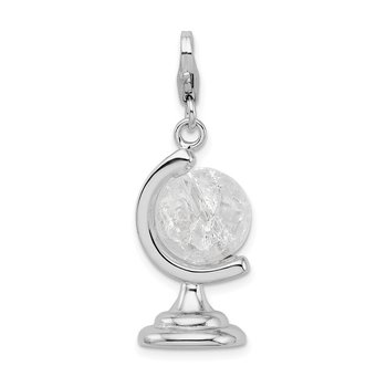 SS RH 3-D Enameled Cracked Crystal Globe w/Lobster Clasp Charm