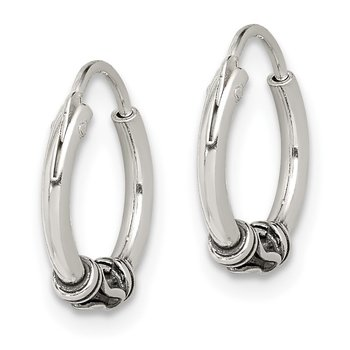 Sterling Silver Antiqued Hoop Earrings