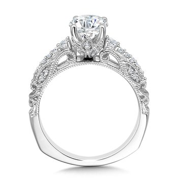 Vintage Milgrain & Filigree Accented Graduating Diamond Engagement Ring
