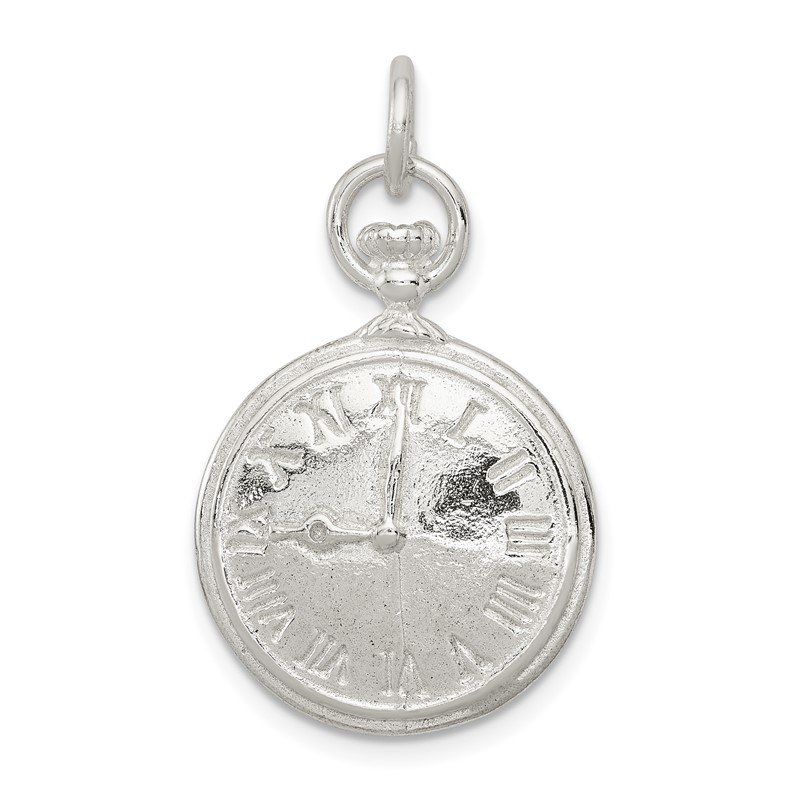 Quality Gold Sterling Silver Clock Charm