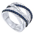 Gabriel Fashion 925 Sterling Silver Hammered Wide Band Layered Sapphire Ring