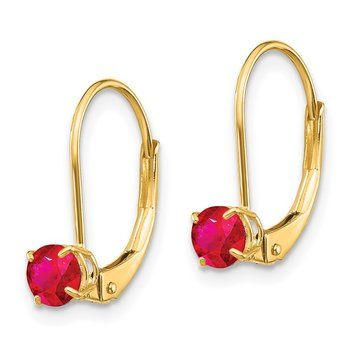 14k 4mm Round July/Ruby Leverback Earrings