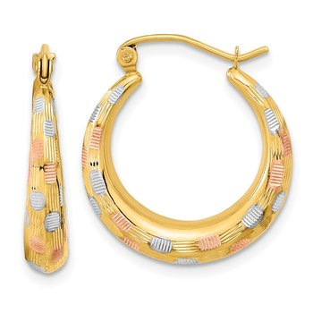 14k White and Rose Rhodium Polished Satin Diamond-cut Hoop Earrings
