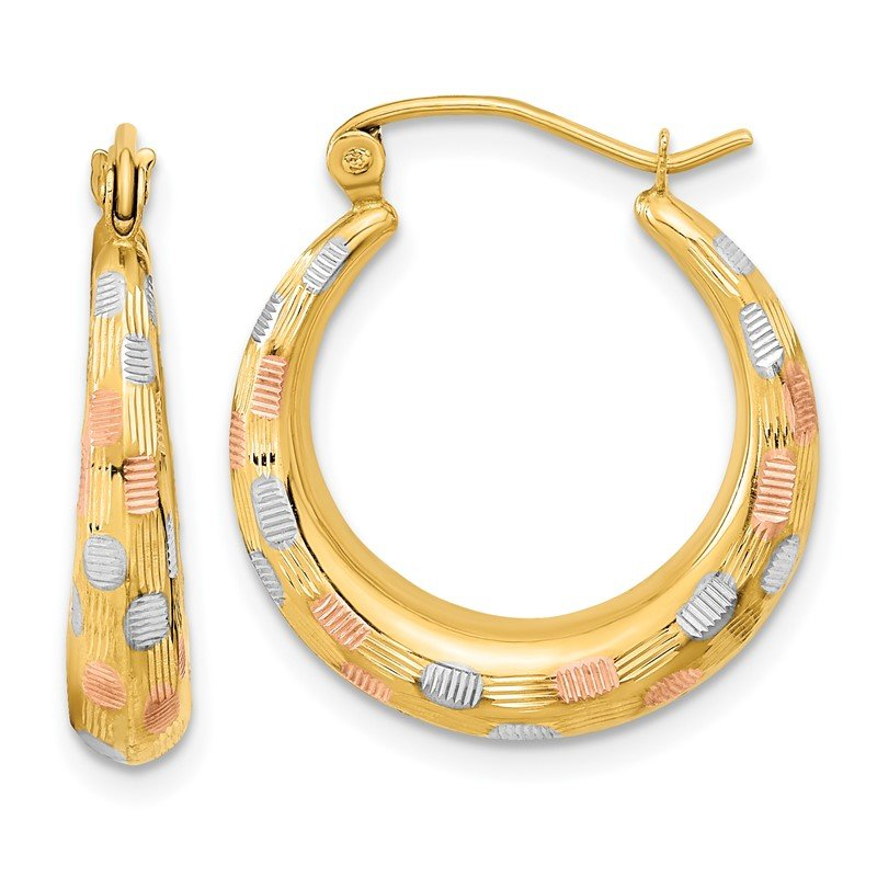 Quality Gold 14ky Polished White & Rose Rhodium Satin & D/C Hoop Earrings