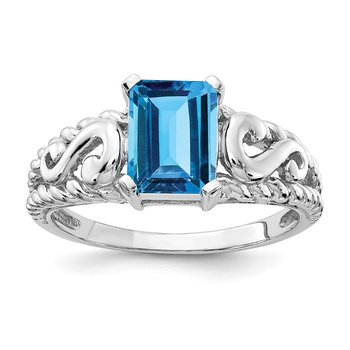 14k White Gold 8x6mm Emerald Cut Blue Topaz ring