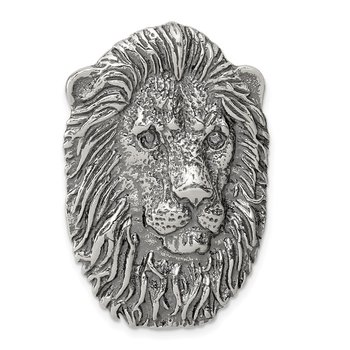 Sterling Silver Antiqued Lion Head Pendant