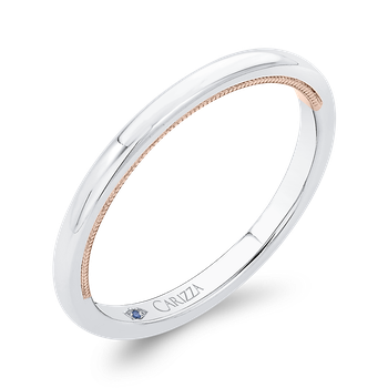 14K Two-Tone Gold Plain Wedding Band