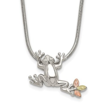 Sterling Silver & 12K Frog Slide Necklace
