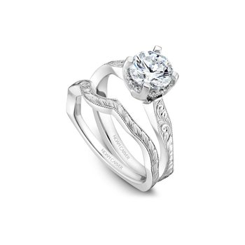 Side-Stone Solitaire Engraved Engagement Ring