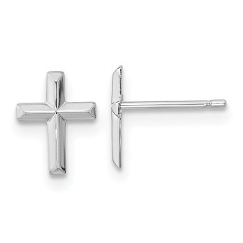 14k Madi K White Gold Polished Cross Post Earrings