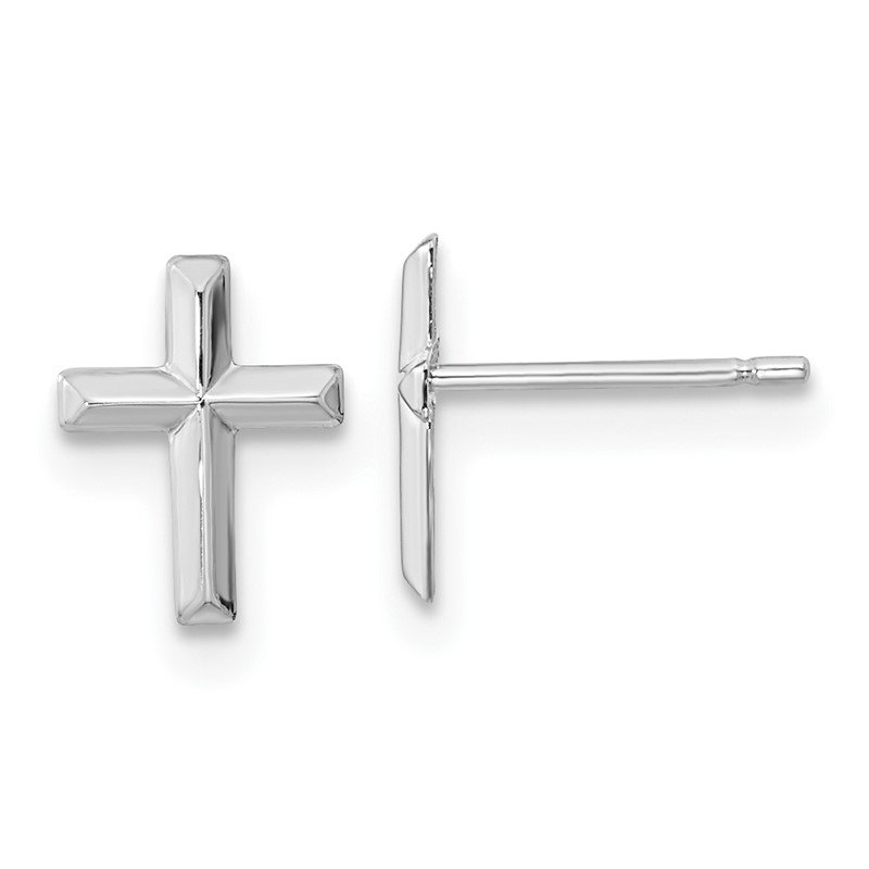 Quality Gold 14k Madi K White Gold Polished Cross Post Earrings