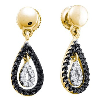 14kt Yellow Gold Womens Round Black Color Enhanced Diamond Teardrop Dangle Earrings 1/3 Cttw