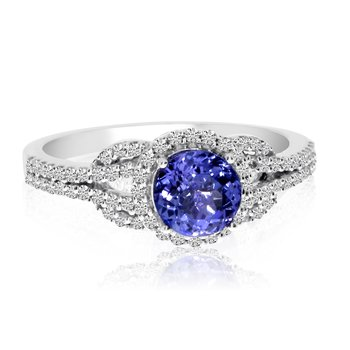 14k White Gold Round Tanzanite and Diamond Ring