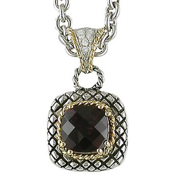 18kt and Sterling Silver Cushion Garnet and Diamond Button Pendant with Chain