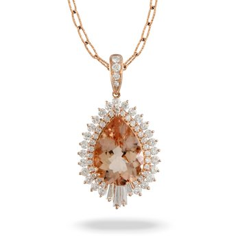 Rose Diamond Halo Pendant 18KR