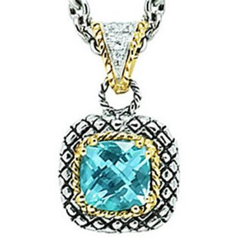 18kt and Sterling Silver Cushion Blue Topaz and Diamond Button Pendant with Chain